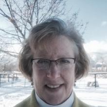 head shot of Ellen Condon with winter background